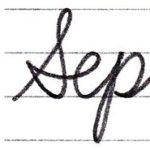 """筆記体で書こう """"September"""" in cursive"""
