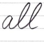 筆記体で書こう all / wall in cursive