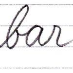 筆記体で書こう bar / far in cursive