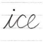 筆記体で書こう ice / rice in cursive