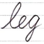 筆記体で書こう leg / egg in cursive