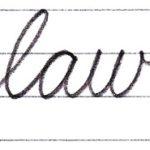 筆記体で書こう law / raw in cursive