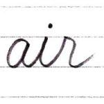筆記体で書こう air / hair in cursive